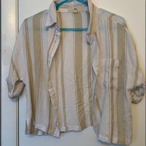 button up Cropped Shirt very light NEVER WORN